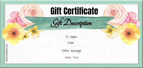 Watercolor gift certificate template
