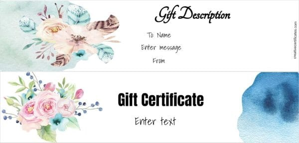 Two gift certificate templates with watercolor flowers and design