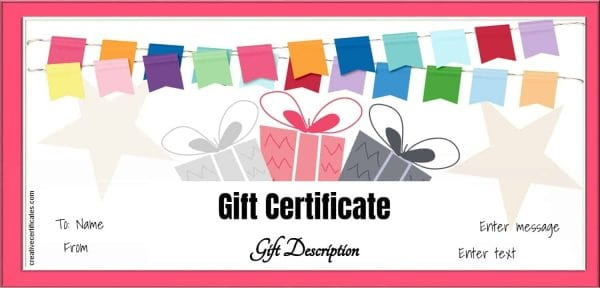 gift certificate with red border , colored banner and three gifts