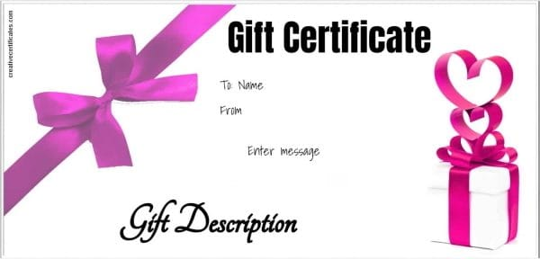 gift certificate with white background and pink ribbons