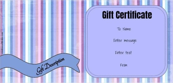 Editable gift certificate with pastel stripes