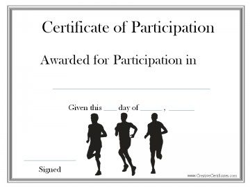 certificate of participation in running event