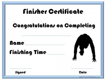 Finisher certificate for race