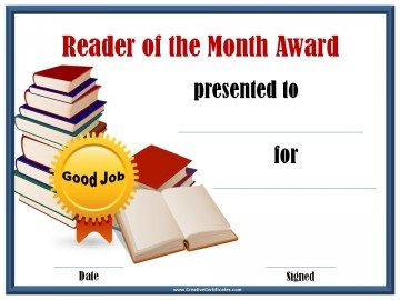 Reader of the month award certificate