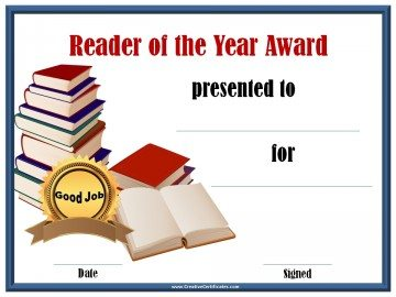 Reader of the year award certificate