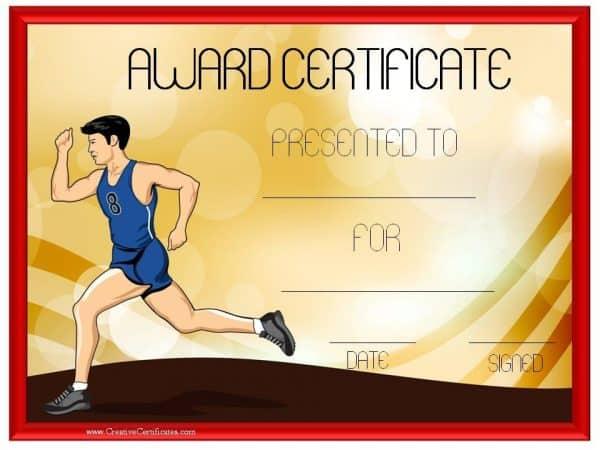 Running award certificate
