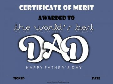 Certificate for dad
