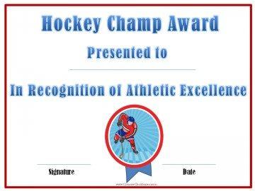 Hockey champ award