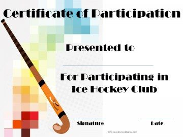 Hockey Certificate of participation