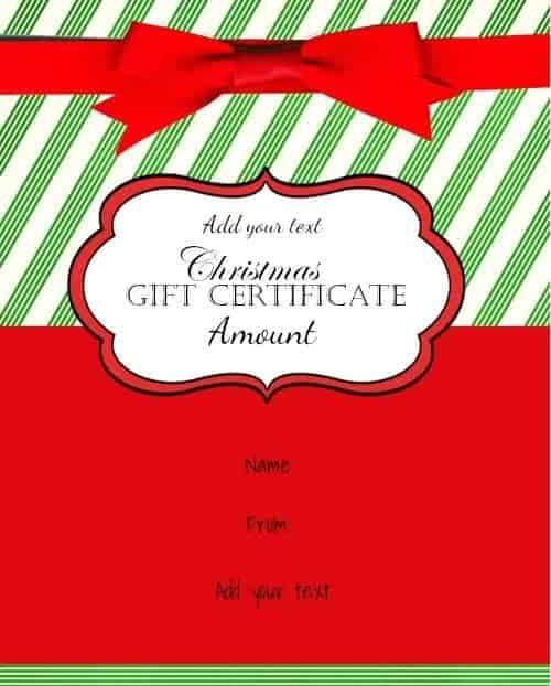 Christmas gift card in red and green with a red ribbon
