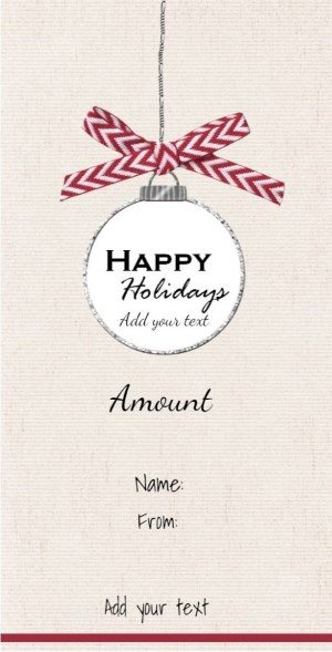 Hanging Christmas decoration on Gift card