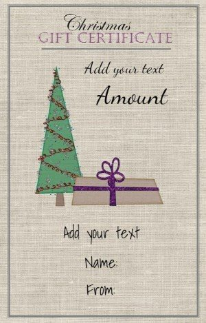 Gift card with a fabric background and a Christmas tree with a wrapped gift under it
