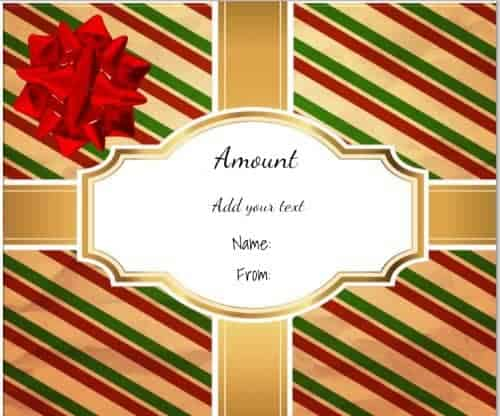 gift shaped gift certificate with gold ribbons across the gift and a big red ribbon on the top left side