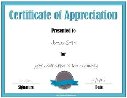 Printable certificate of appreciation
