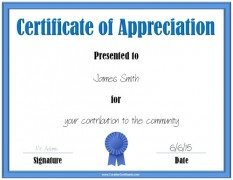 Printable certificate of appreciation with a blue border and a blue award ribbon