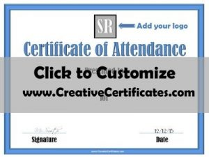 Attendance certificate printable