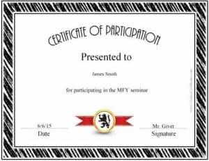 award for participants for black border