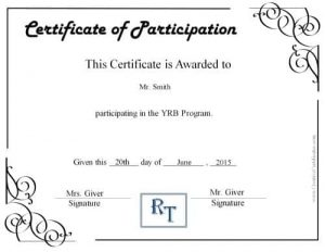 Participation certificate with a comapny logo