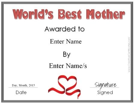 """mother's day certificate that reads """"World's Best Mother"""""""