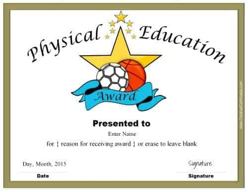 physical education certificate
