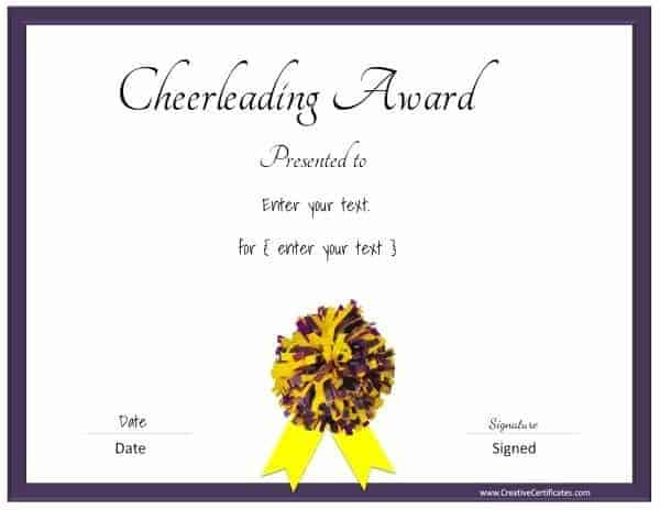 Cheerleading certificate in purple and yellow