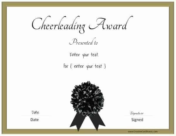 Cheerleading certificates with a gold border and a black pom pom