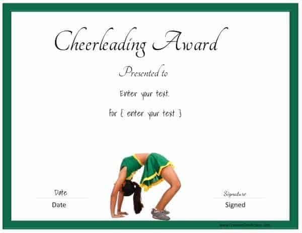 Cheerleading certificate with a picture of a cheerleader