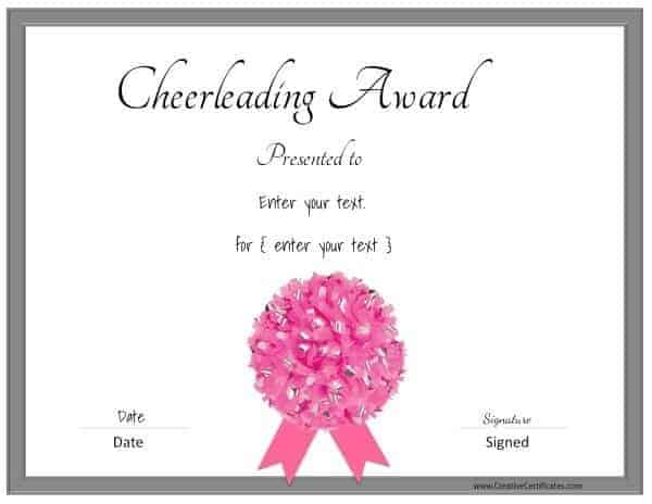 Pink cheerleading certificate with a grey border and a pink pom pom