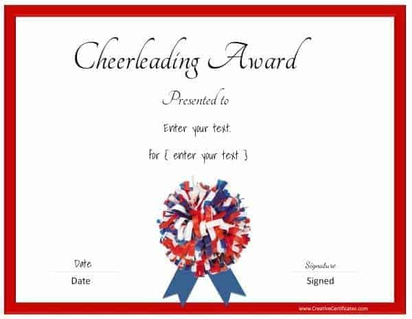 Cheerleading certificate in red, blue and white