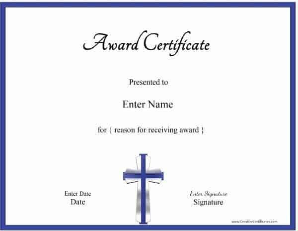 Christian Award Certificate