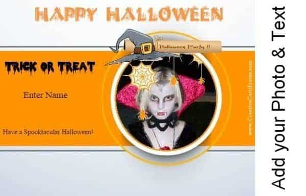 Trick or treat card with your own photo and text