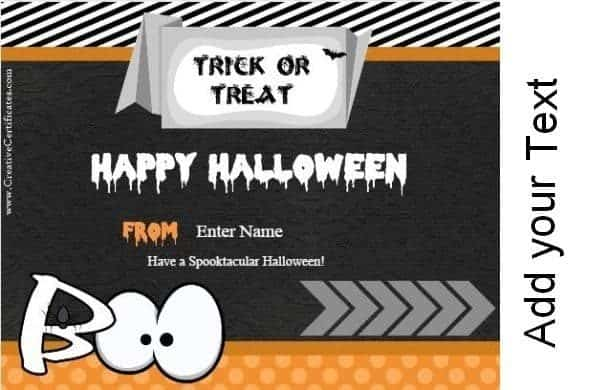 Halloween cards in black and orange (trick or treat)