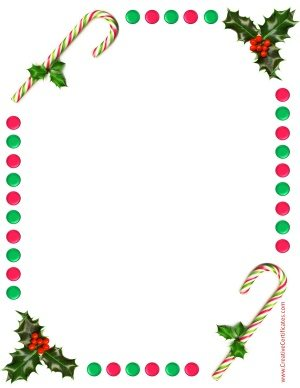 Free border with holly and candy sticks