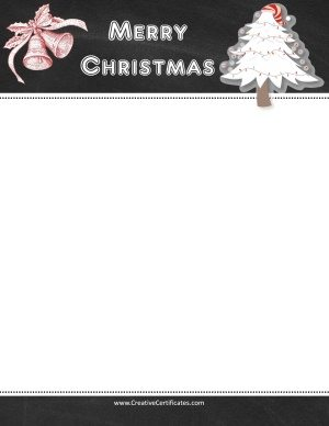 Page border with blackboard and clipart of a Christmas tree and two bells