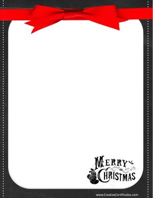 "Chalkboard border with a red ribbon that reads ""Merry Christmas"""