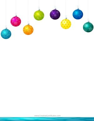 Christmas clipart border with hanging Christmas ornaments in eight different colors.