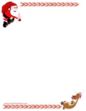 Santa clip art border with Santa carrying a sack of gifts