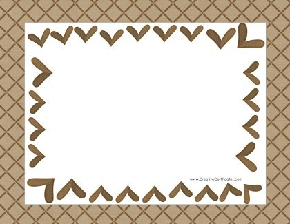 brown hearts within patterned border