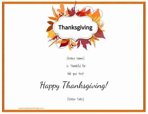 Free Thanksgiving printables that can be customized online