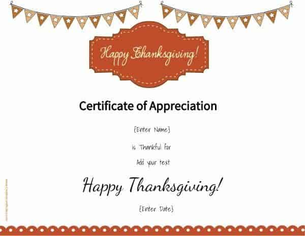 Thanksgiving printable with colored flags on top of the page