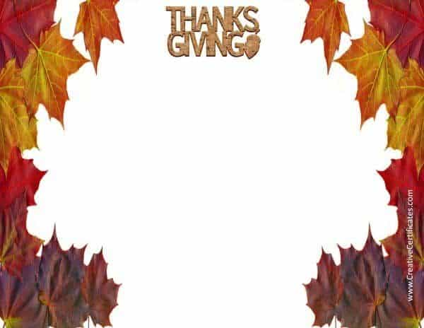 Thanksgiving border with leaves on each side of the pages