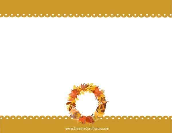 Thanksgiving wreath on border with scalloped edge