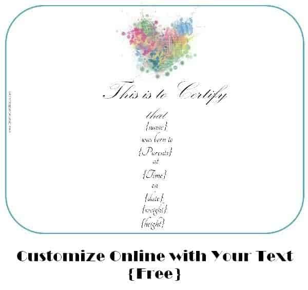 Free Customizable Birth Certificate Template
