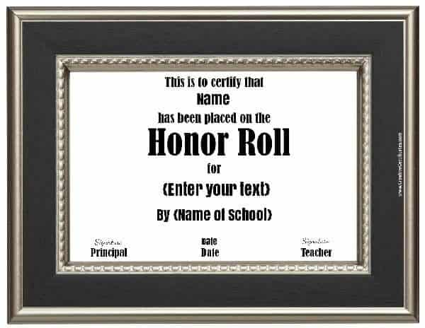 School certificate with a black and silver frame