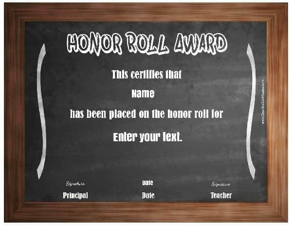 honor roll certificate template with a blackboard background