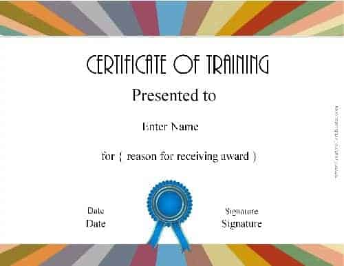 Diploma for training course