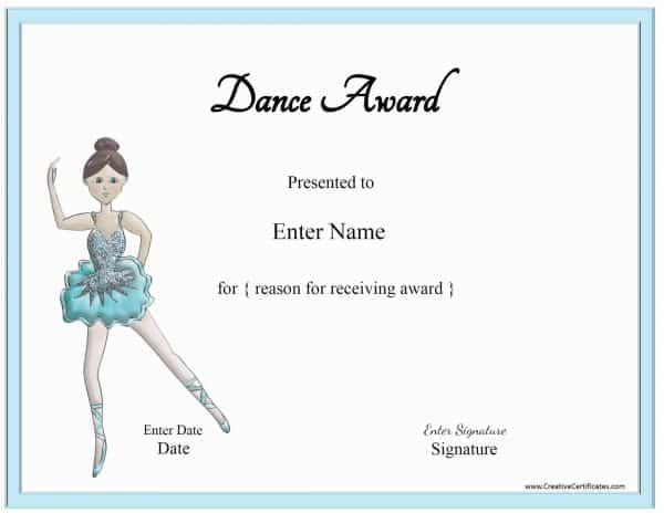 dance award with a picture of a ballerina