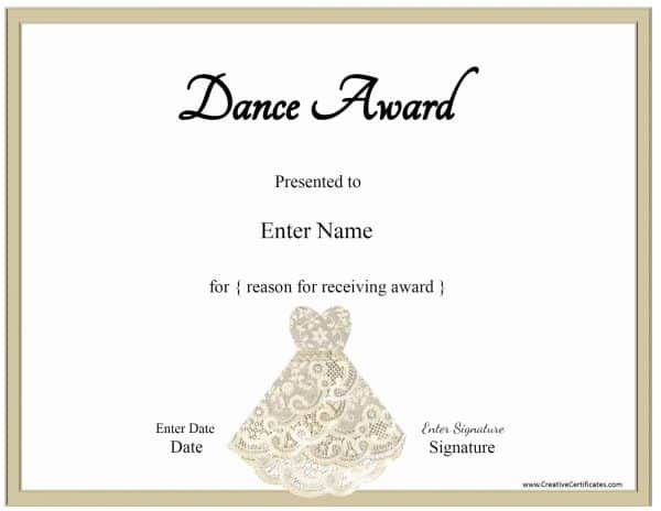 ballet certificate with a picture of a lace dress