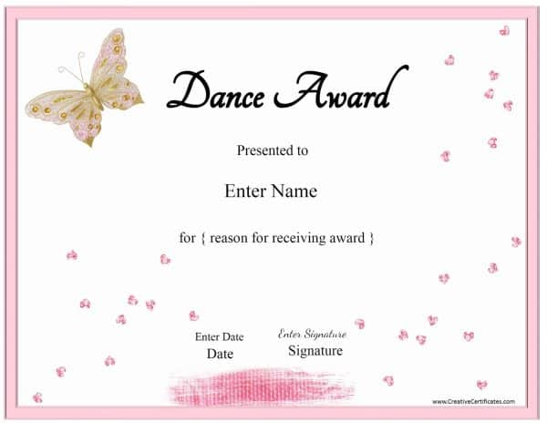 dance awards with a pink frame and a pink and gold butterfly