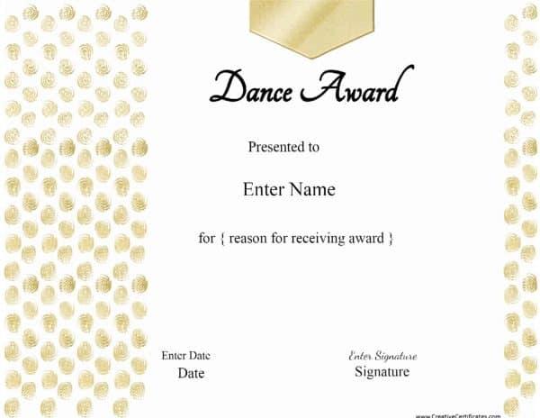 Gold dance award template